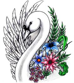 Flowers Swan Tattoo Designs For Girl Cute Tattoos, Flower Tattoos, New Tattoos, Girl Tattoos, Tatoo 3d, I Tattoo, Schwan Tattoo, Tattoo Designs For Girls, Mural Art