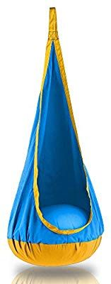Amazon.com: Sway Seat Premium Hanging Nest Hammock Pod for Indoor and Outdoor Use - Professional Grade Hardware Included (Blue/Yellow): Kitchen & Dining