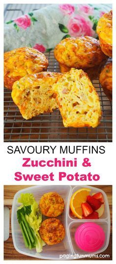 Zucchini and Sweet Potato Savoury Muffins – Paging Fun Mums - Süßkartoffel Rezepte Healthy Savoury Muffins, Savory Snacks, Lunch Snacks, Healthy Snacks, Healthy Eating, Kid Lunches, Savoury Muffin Recipe, Savoury Breakfast Muffins, Breakfast Cups