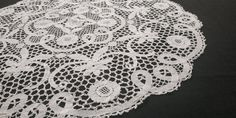 60s Handmade Bobbin Lace Large Doily Tablecloth, White, 73cm/28.7in Plaid Tablecloth, Round Tablecloth, Bobbin Lace, Tablecloths, Doilies, Rustic, Floral, Pattern, Handmade