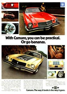 1974 Chevrolet Camaro original vintage advertisement. Features the Sport Coupe and Z28 models with standard options.