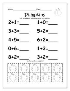 Addition Problems with Manipulatives (sums to 10) (October) 6 pages - kindergarten and first grade addition  $