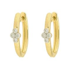 Pre-owned Jude Frances 18K Yellow Gold 0.06ct. Diamond Provence Hoop... (1.825 BRL) ❤ liked on Polyvore featuring jewelry, earrings, gold hoop earrings, yellow gold earrings, diamond hoop earrings, gold earrings and gold jewellery