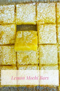 Classic lemon bars but with a chewy mochi lemon layer! Uses rice flour to create a mochi-like texture with a crispy, buttery crust on the bottom. Sweet Rice Flour Recipe, Rice Flour Recipes, Lemon Desserts, Delicious Desserts, Hawaiian Desserts, Oreo Cookie Butter, Butter Mochi, Tasty Pastry, Mochi Cake
