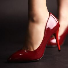 D79535 Kvoll Spring Patent Leather Pointed-toe High-heeled Pump Red