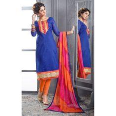 Chanderi Cotton Royal Blue Churidar Suit Dress Material - 16513