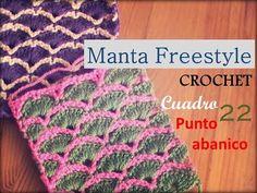 Manta a crochet FreeStyle cuadro 22: punto abanico (zurdo) - YouTube