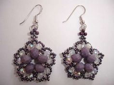 Pendientes con abalorios: Fotos ideas DIY - Pendientes flor de lila