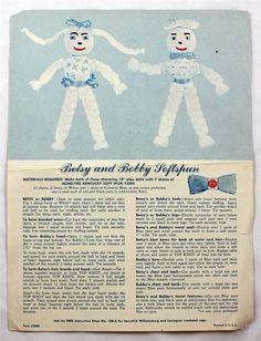 Vintage Betsy and Bobby & Susie and Sandy Softspun Yarn Dolls Instruction Sheet #SoftspunYarn
