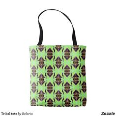 Shop Tribal tote created by Belaria. Reusable Tote Bags, Green
