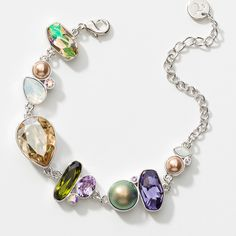 """Click on picture to visit website Mosaic Bracelet Item 3907BF Crystal Aurore Boreale, Tanzanite, Violet, Olivine, Crystal Golden Show, Crystal Luminous Green, and White Opal crystal with Crystal Rose Gold and Crystal Iridescent pearls; rhodium plating; 7"""" to 8"""". $129.00 Alison Manaher's Personal Website"""