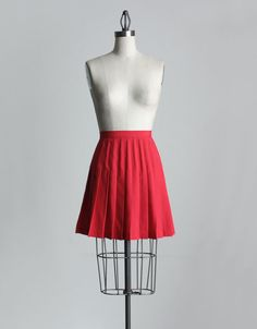 RED MINI SKIRT 1990s Vintage Red Pleated Mini Skirt by decades, $30.00