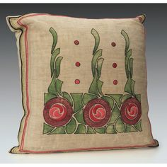"""Exceptional Arts & Crafts pillow, colorful embroidered design of red roses, 18""""w x 21""""h"""