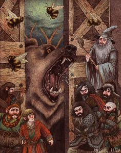 Gandalf, Bilbo et la troupe de Nains arrivant chez Beorn Beorn Hobbit, Hobbit Art, The Hobbit, Jrr Tolkien, Legolas, Gandalf, Thranduil, Lord Of Rings, The Misty Mountains Cold