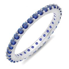 Share for $20 off your purchase of $100 or more! 1.00 Carat (ctw) 14k White Gold Round Blue Sapphire Ladies Eternity Anniversary Stackable Ring Wedding Band 1 CT - Dazzling Rock #https://www.pinterest.com/dazzlingrock/
