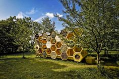 AtelierD's Giant Honeycomb Bee Hotel Attracts Pollinators & Humans Alike | Inhabitat - Green Design, Innovation, Architecture, Green Building