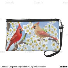 Cardinal Couple in Apple Tree Bagettes Bag Wristlet Clutch #clutch  #birding  #cardinal