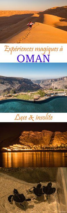 Dormir dans le désert ou sur le grand canyon d'Oman, voir la ponte des tortues, se baigner sur la plus belle plage d'Oman... expériences insolites et luxueuses à #Oman !