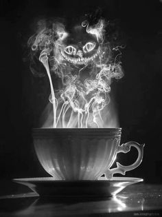 """Instead of a the cat, have his smile ONLY with the mad hatter's hat - smoke spells """"We're all mad here"""" OR """"Feed your head"""""""