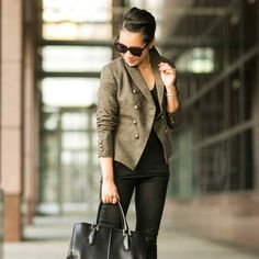 Banana Republic Olive Button Jacket SO chic and perfectly on trend! As seen on Wendy Nguyen of Wendy's Look Book. Like new condition. No trades!! 02181650gwb Banana Republic Jackets & Coats Blazers