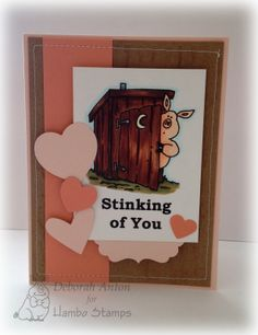 Hambo Stamps rubber image and sentiment Outdoor Pig/ Stinking of You by Deborah Anton