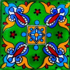 DE13 Mexican Talavera Tile Mosaic 4x4 Tiles Clay Tile Coaster Mural Ceramic Handmade 90 Tiles. $110.00, via Etsy.