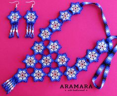Mexican Huichol Beaded Necklace and Earrings Set by Aramara Peyote Patterns, Beading Patterns, Boho Jewelry, Jewelry Art, Beaded Jewellery, Jewelery, Beard Jewelry, Mexican Jewelry, Bead Loom Bracelets