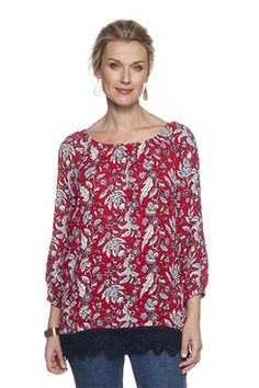 Shop our lively selection of Ruby Rd Missy tops. A variety of styles for all occasions including: sharkbite hem tops, bell sleeve tops, embellished tops, blouses, tees and shirts. Bell Sleeves, Bell Sleeve Top, Embellished Top, Tees, Shirts, Floral Prints, Tunic Tops, Printed, Blouse