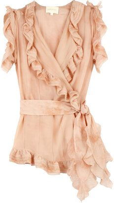 ShopStyle: Zac Posen Marbled silk blouse