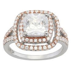 Gioelli Sterling Silver and Rose Gold Plated Cubic Zirconia Ring