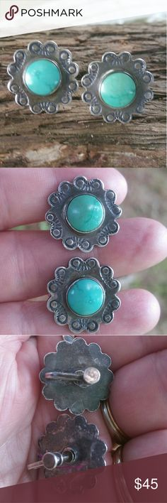 Old screw back turquoise sterling earrings Old turquoise and sterling earrings. Very nice condition aside from needing polished Jewelry