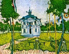 Reproducties - Vincent van Gogh > Auvers sur Oise 1890 > Auvers Town Hall on 14 July 1890 -. Art Van, Van Gogh Art, Vincent Van Gogh, Van Gogh Museum, Van Gogh Paintings, Post Impressionism, Dutch Artists, Oil Painting Reproductions, Oil Painting On Canvas