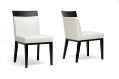 Baxton Studio Clymene Black Wood and Cream Leather Modern Dining Chair | Interior Express