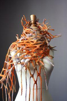 Felted scarf wool Orange earthy  Fish net for by VitalTemptation, $75.00: