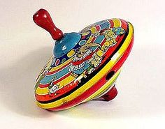 Vintage tin spinning top