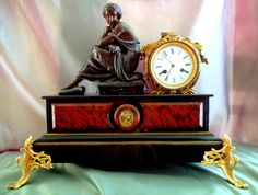 Antique large palace mantel clock marble ormolu patinated bronze French L Hottot