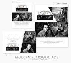 Modern Yearbook Ad Templates by Jamie Schultz Designs