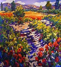 Dni vína a ruží 52 x 48 Jill charuk olej ~ 52 x 48