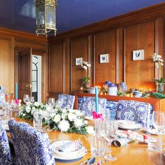 Wood-panelled Christmas dining room