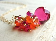 Pink Quartz Necklace Gemstone Cluster Necklace by beachjewels72