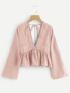 Shop V-neck Lace Trim Self Tie Frill Top online. SHEIN offers V-neck Lace Trim Self Tie Frill Top & more to fit your fashionable needs. Teen Fashion Outfits, Cute Fashion, Hijab Fashion, Girl Fashion, Fashion Dresses, Crop Top Outfits, Skirt Outfits, Summer Outfits, Cute Outfits