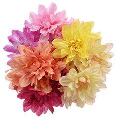 Floral Garden Summer Dahlia Bushes, 12 in. Fake Flowers, Artificial Flowers, Beautiful Flowers, Dollar Tree Wedding, Flower Pens, Florist Supplies, Diy Wedding Bouquet, Dollar Tree Store, Diy Wreath