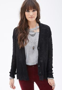 Lace-Trimmed Loose-Knit Cardigan - Sweatshirts & Knits - 2000117674 - Forever 21 UK