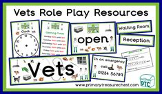 Lots of popular Veterinary Surgery Role Play teaching resources to download for the Foundation Phase - Early Years -  KS1 - kindergarten - Pre-School Teaching Activities, Teaching Resources, Teaching Ideas, Early Years Classroom, Emergency Call, Role Play, Pre School, Pet Shop, Surgery