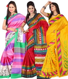 Get this #stylish#Saree(s) at unbelievable price. Tune into #Ethnic diva with Impressive Yellow, Pink and Red Color #Bhagalpuri #Silk #Sarees - Set of 3