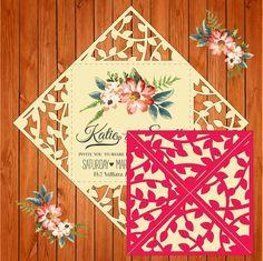 Invitación de la boda tarjeta plantilla, figuras, hojas, ramas (studio V3, svg) lasercut descarga inmediata Silhouette Cameo, Circuit de thehousedesigns en Etsy