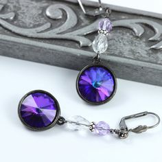 Deep Purple Blue Crystal Earrings with Gunmetal Drops by abacusbeadcreations on etsy $28 #etsyfollow @Peg Stradling