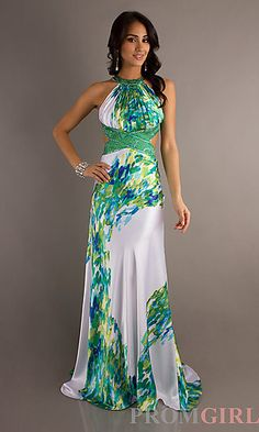 Long Print Halter Gown by Morgan 11615 at PromGirl.com #prom #promtheme