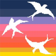 Birds flying in negative silhouette against by crossstitchtheline