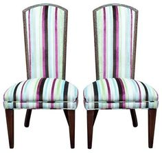 Pair Of Mid-Century High Back Tapered Side Chairs @flea_pop